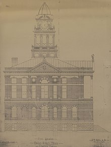 An architectural rendering for the Eaton County Courthouse, designed by David W. Gibbs and Company in the 1880s. The drawing shows an exterior elevation of the side of the courthouse.