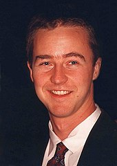 Portrait of a young Edward Norton smiling