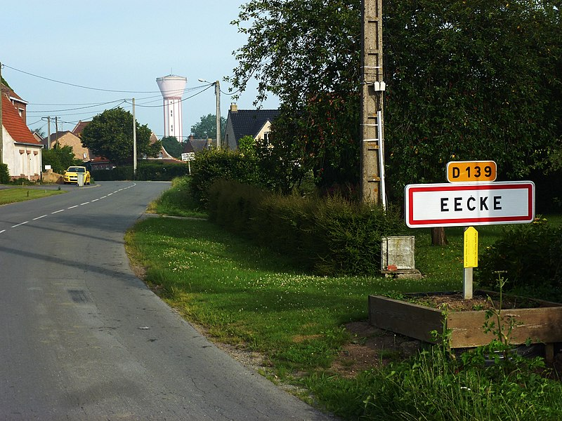 Eecke (Nord, Fr) city limit sign