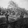 Een militair loopt over een boomstam richting andere soldaten die al aan de ove, Bestanddeelnr 15819.jpg