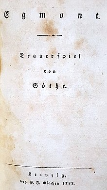 The title page of the first edition of Geothe's Egmont, 1788 (Source: Wikimedia)