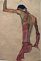 Egon Schiele. Standing Male Nude with Arm Raised, Back View (1910) (24976258942).jpg