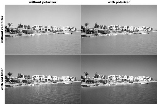 Effects of using a polarizer and a red filter in black and white photography