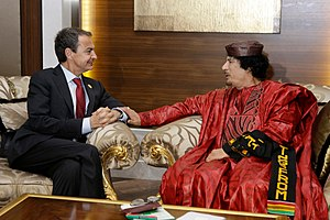 José Luis Rodríguez Zapatero - Gaddafi with Spanish Prime Minister José Luis Rodríguez Zapatero at the third EU-Africa Summit in Tripoli in November 2010.