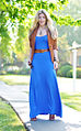 Electric blue maxi dress with cognac accessories.jpg