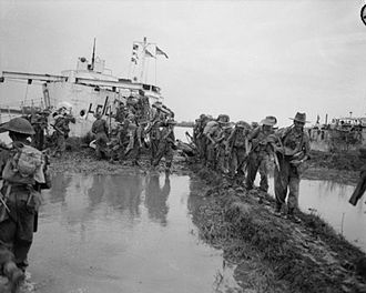 """Battle of Elephant Point - Men of the 15th Indian Corps land near Elephant Point at the beginning of operation """"Dracula"""", 2 May 1945"""