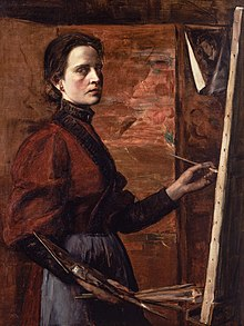 A self-portrait of Elisabeth Nourse, painting