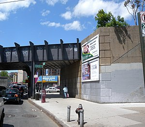 Elmhurst (LIRR station) - Site of the former Elmhurst Station on Broadway across from Cornish Avenue. There was an entrance to the Port Washington bound platform and there are some visible platform support members remaining.