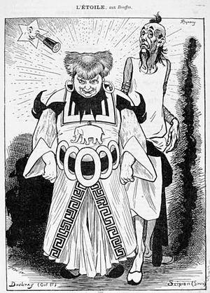 L'étoile (opera) - Press cartoon for the premiere by Félix Régamey