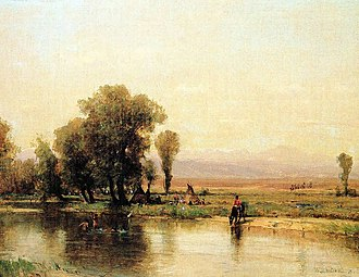 Platte River - Encampment Along The Platte by Worthington Whittredge