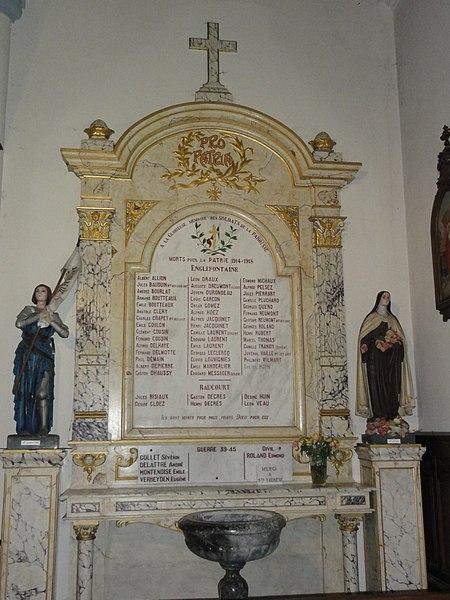 Englefontaine (Nord, Fr) église Saint-Georges, monument aux morts victimes militaires