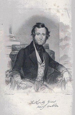 Henry Cockton - Engraving of Henry Cockton from a portrait by James Warren Childe published as a frontispiece to his third novel George St. George Julian The Prince.
