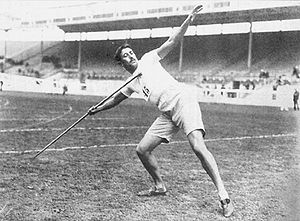 Athletics at the 1908 Summer Olympics – Men's javelin throw - Image: Erik Lemming
