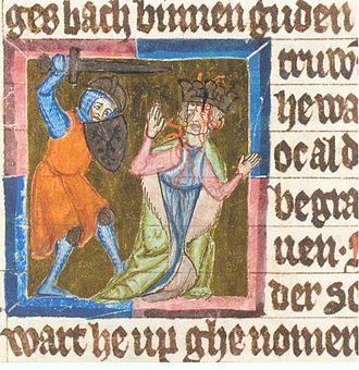 Philip of Swabia - Assassination of Philip of Swabia, Sächsische Weltchronik, early 14th century