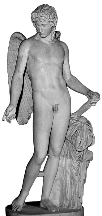 Eros - The Eros Farnese, a Pompeiian marble thought to be a copy of the colossal Eros of Thespiae by Praxiteles
