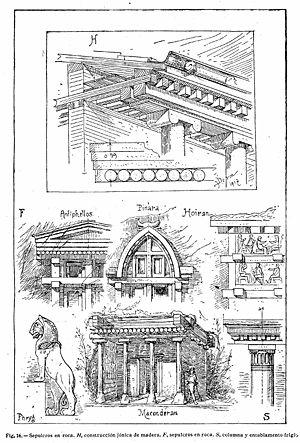 """H.- Construcción jónica de madera. F.- Sepulcros en roca. S.- Columna y entablamento frigio. """"Tratado general de Construcción"""", Karl Esselborn (1929). Dibujos de Josef Durm y otros (1917)."""