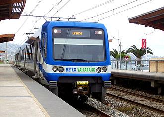 X'Trapolis - Metro Valparaiso - Limache bound unit at the station in Portales
