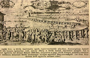 Suleiman Bridge - A fanciful view of the bridge from the Hungarian publication Tolna World History