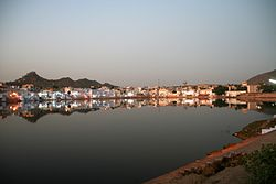 Evening lights by the Pushkar Lake, Pushkar.jpg