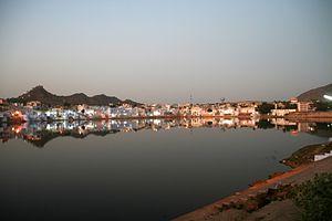 Pushkar Lake - Image: Evening lights by the Pushkar Lake, Pushkar