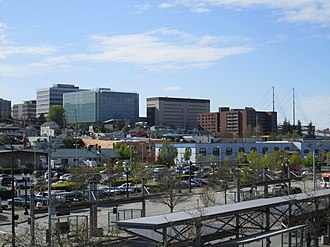 Everett, Washington - Image: Everett Station Everett skyline, 2014