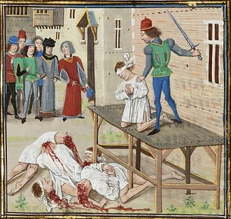 Sieges of Vannes (1342) - The execution of Olivier IV of Clisson by Loyset Liédet