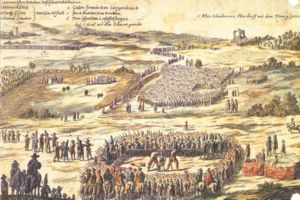 "Swiss peasant war of 1653 - Seven of the ""ringleaders"" of the peasant war were executed at Basel on July 24, 1653. Six were decapitated; one was hanged (shown in the background right)."