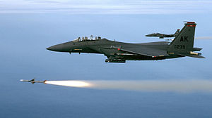 Air-to-air missile - Two F-15Es from the 90th Fighter Squadron USAF, from Elmendorf Air Force Base, Alaska, fire a pair of AIM-7Ms during a training mission.