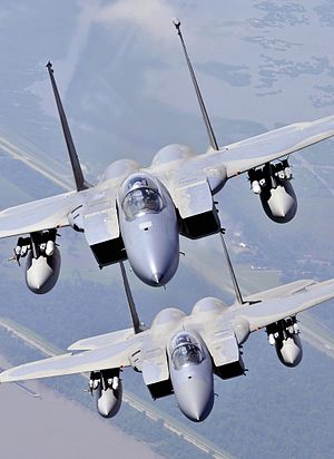 159th Fighter Wing - F-15C Eagles assigned to the Louisiana Air National Guard's 159th Fighter Wing fly over southern Louisiana wetlands