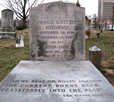 Scott and Zelda Fitzgerald's current grave at St. Mary's in Rockville, Maryland, inscribed with the final sentence of The Great Gatsby F. Scott and Zelda Fitzgerald grave.png