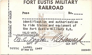 Fort Eustis Military Railroad - A pass for the FEMRR, early 1960s.