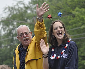Gerry Connolly - Connolly and his daughter Caitlin during 2015 Fairfax City 4th of July parade