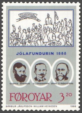 Christian Ludvig Johannesen - Postage stamp from 1988; Johannesen is depicted in the middle