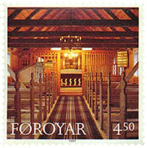 Hvalvík - Image: Faroe stamp 319 church of hvalvik inside