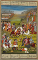 Fatḥ ʻAlī Shāh in battle killing the Russian general Ashanjdār. A Qajar-era miniature.png
