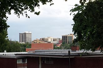 Fayetteville, Arkansas - Downtown Fayetteville as seen from Old Main Lawn