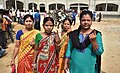 Female voters showing indelible ink after casting her vote, at a polling booth, during the Tripura Assembly Election, in Raj Nagar, Agartala on February 18, 2018.jpg