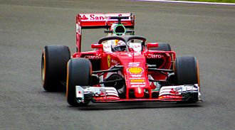 "2016 British Grand Prix - Sebastian Vettel tested the ""halo"" safety device in first practice."