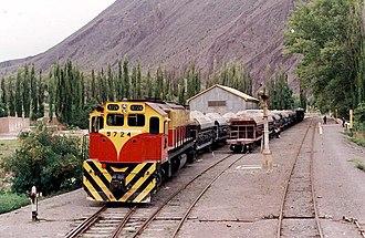 General Manuel Belgrano Railway - Freight train at Ingeniero Maury, Salta Province.