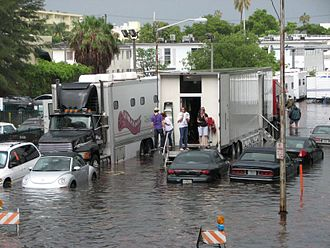 Burn Notice - Burn Notice film crew in a flooded Miami Beach in 2009.