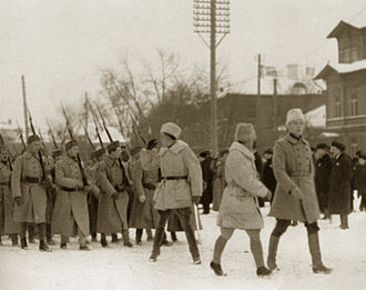Heimosodat - Finnish volunteers arrive in Tallinn, Estonia in December 1918 during Estonian War of Independence