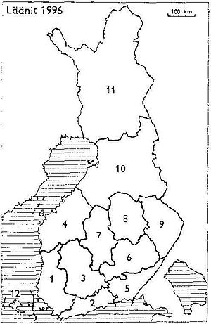Häme Province - Provinces of Finland 1996: 1: Turku and Pori, 2: Uusimaa, 3: Häme, 4: Vaasa, 5: Kymi, 6: Mikkeli, 7: Central Finland, 8: Kuopio, 9: Northern Karelia, 10: Oulu, 11: Lapland, 12: Åland