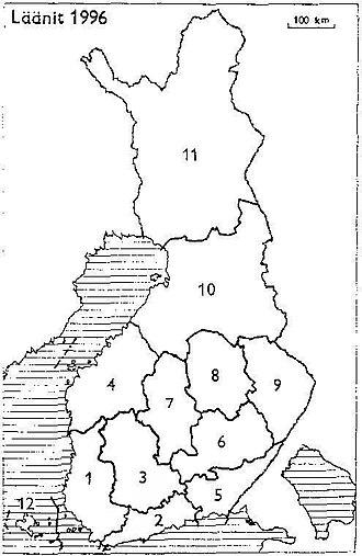 Turku and Pori Province - Provinces of Finland 1996: 1: Turku and Pori, 2: Uusimaa, 3: Häme, 4: Vaasa, 5: Kymi, 6: Mikkeli, 7: Central Finland, 8: Kuopio, 9: Northern Karelia, 10: Oulu, 11: Lapland, 12: Åland