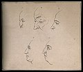 Five profiles exhibited for their noses. Drawing, c. 1794. Wellcome V0009246.jpg