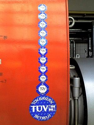 Technischer Überwachungsverein - Horizontal Return Tubular boiler with tag showing TÜV certification