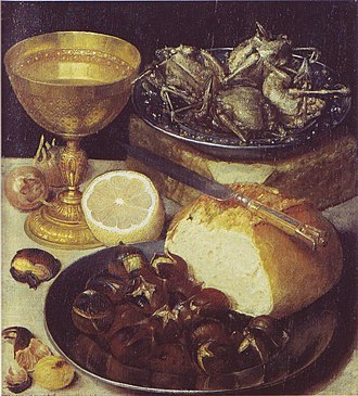 Chestnut - Still life with roasted chestnuts by Georg Flegel