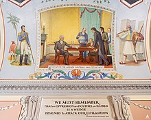 Painting representing the Monroe Doctrine, and a quote about oppression by President Franklin D. Roosevelt