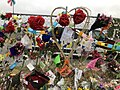 Flowers and tributes at Linwood Avenue memorial for Christchurch mosque shootings 1, 23 March 2019.jpg