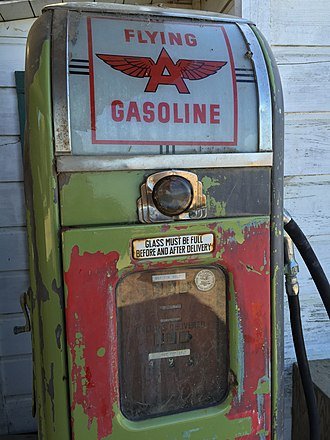 Tidewater Petroleum - Flying A Gasoline pump located at China Camp State Park