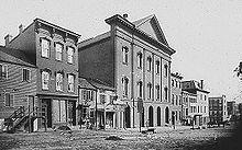 Il teatro Ford nel XIX secolo, luogo dell'assassinio del Presidente Lincoln, avvenuto nel 1865